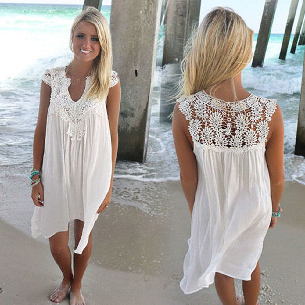 White Loose Beach Mini Dress Simply Adore