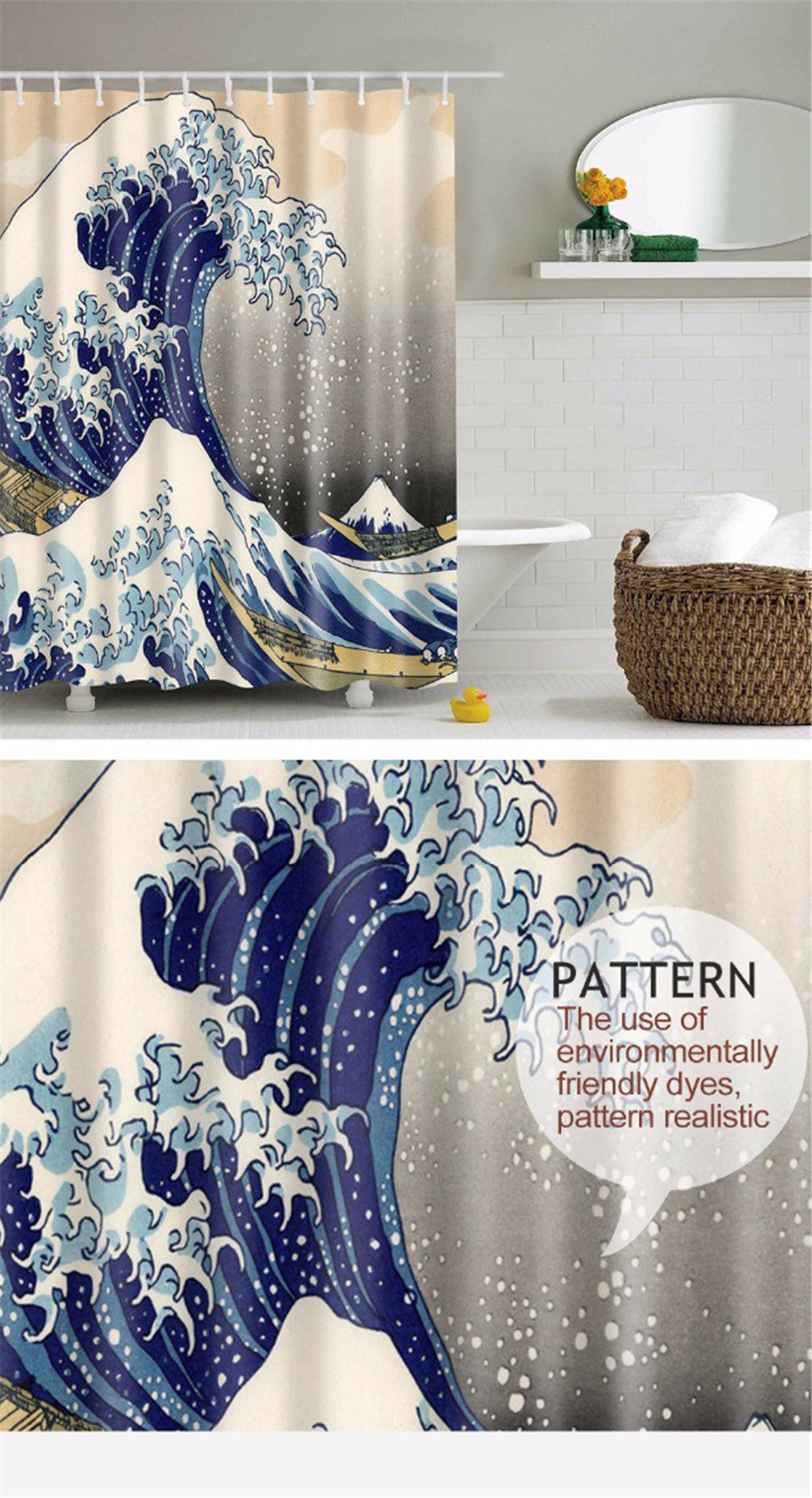 Classic Japanese Great Wave Shower Curtain
