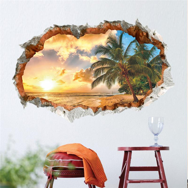 3d removable beach sunset wall art stickers simply adore - Poster xxl mural pas cher ...