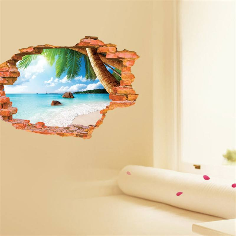 3d Removable Beach Sunshine Wall Art Stickers Simply Adore