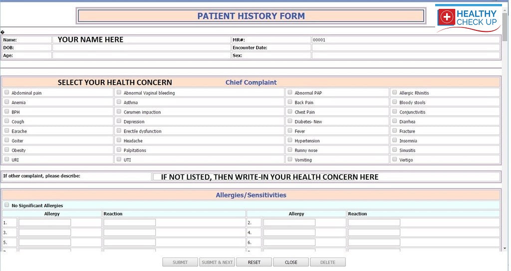 Get your Self Health Report  online