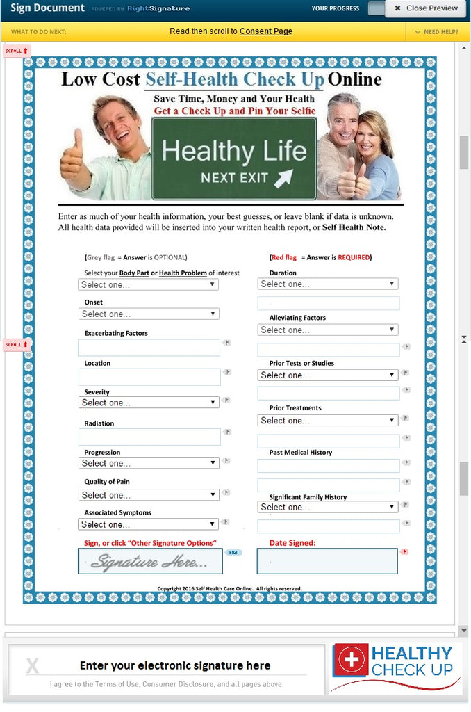 Basic Self Health Report Questionnaire to Check Your Health without Health Insurance or Doctor Online