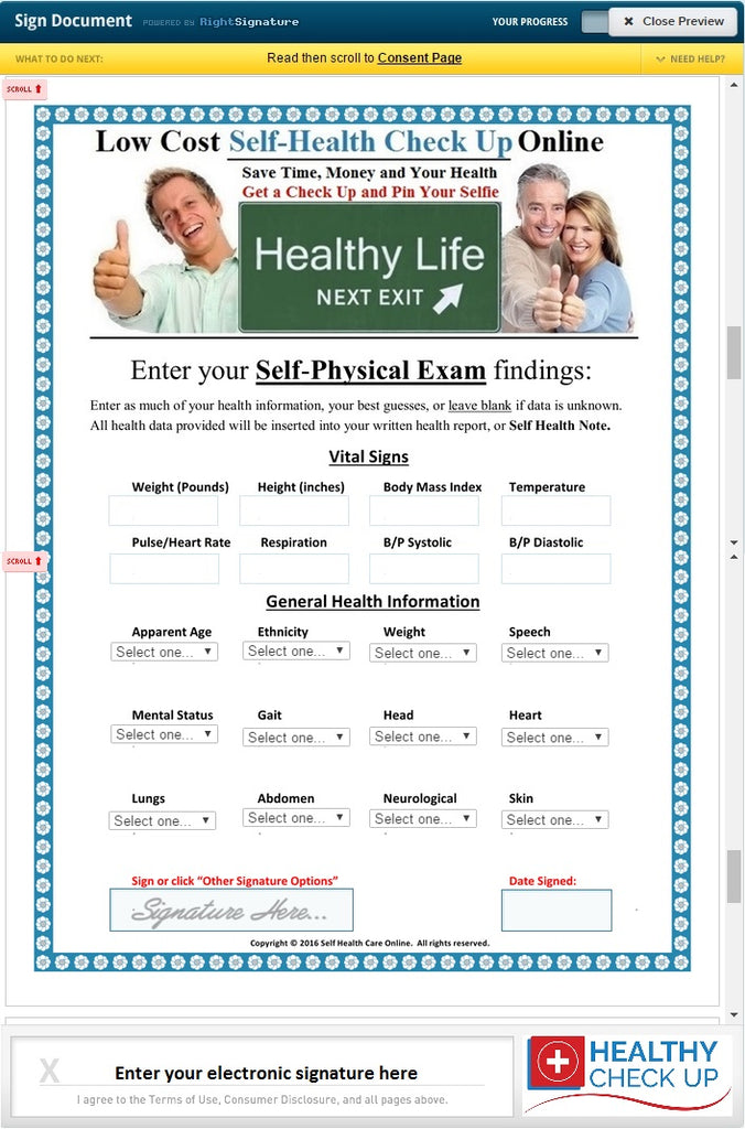 Sample of a Self Health Report