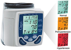 Blood pressure wrist monitor multiple color display