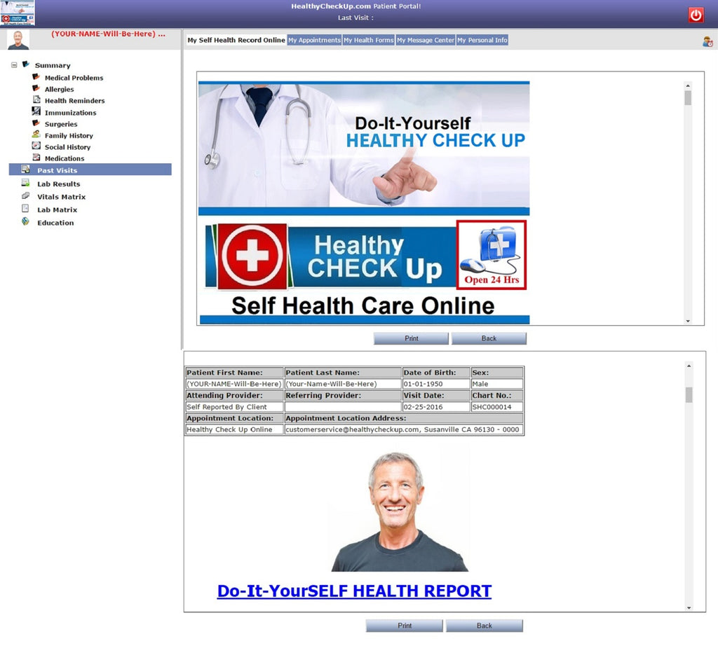 Healthy Check Up Patient Portal