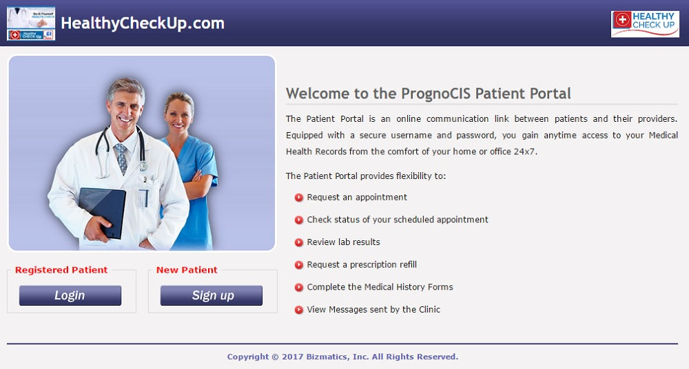 Healthy Check Up Patient Portal Sample