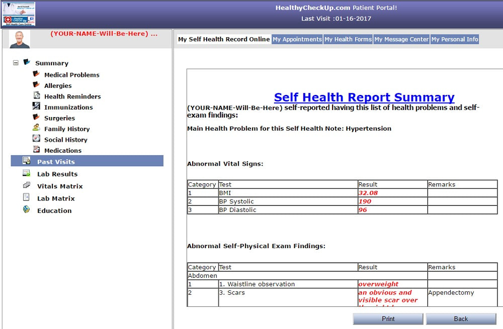Self Health Report Example 3