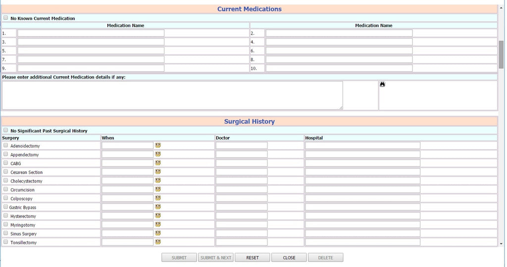 Self Health Report Patient History Form 2