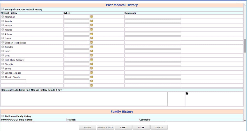 Self Health Report Patient History Form 3
