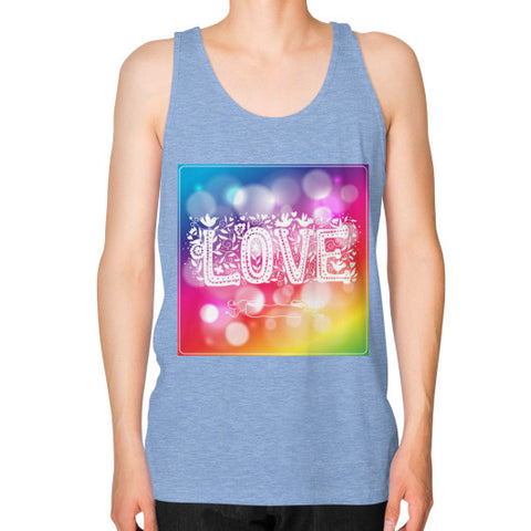 Unisex Fine Jersey Tank (on man) Tri-Blend Blue - Healthcare Blood Test Store