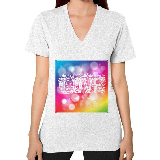 V-Neck T-Shirt For Women With Love Sign