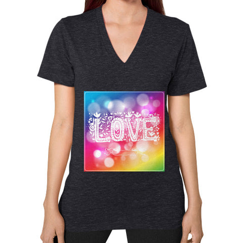 V-Neck (on woman) Tri-Blend Black - Healthcare Blood Test Store