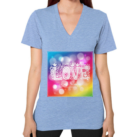 V-Neck (on woman) Tri-Blend Blue - Healthcare Blood Test Store