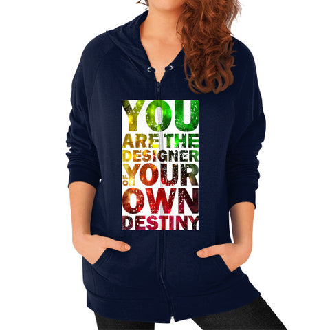 Zip Hoodie (on woman) Navy - Healthcare Blood Test Store