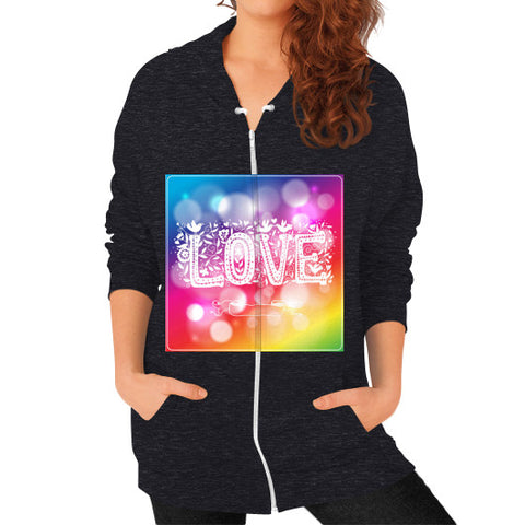 Zip Hoodie (on woman) Tri-Blend Black - Healthcare Blood Test Store