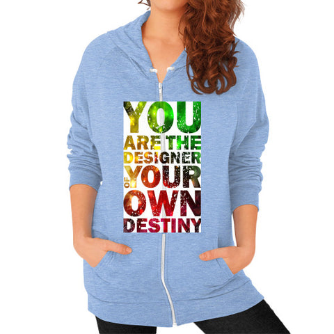 Zip Hoodie (on woman) Tri-Blend Blue - Healthcare Blood Test Store