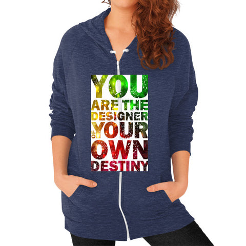 Zip Hoodie (on woman) Tri-Blend Navy - Healthcare Blood Test Store