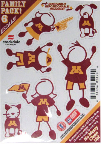 Minnesota Golden Gophers Decal 5x7 Family Sheet