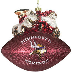"Minnesota Vikings 5 1/2"" Peggy Abrams Glass Football Ornament"