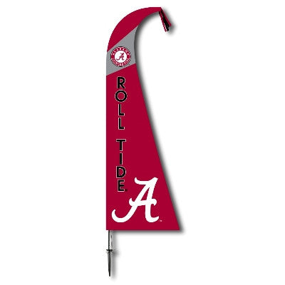 NCAA Officially licensed products Alabama Crimson Tide Feather Flag This officially licensed feather shaped flag is silk scr