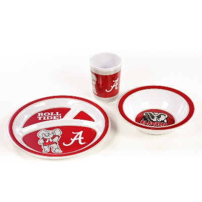 NCAA Officially licensed products Alabama Crimson Tide Kid's 3 Pc. Dish Set This 3 piece heavy weight dish set is children a