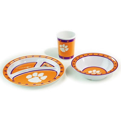 NCAA Officially licensed products Clemson Tigers Kid's 3 Pc. Dish Set This 3 piece heavy weight dish set is children and dis