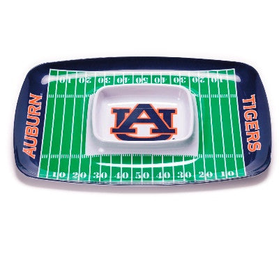 NCAA Officially licensed products Auburn Tigers Chip & Dip Tray Show your team spirit with this durable melamine Chip & Dip