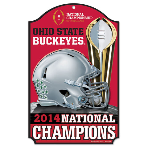 "Ohio State Buckeyes 11""x17"" 2014 Champ Wood Sign"
