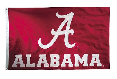 NCAA Officially licensed products Alabama Crimson Tide 2-sided Nylon Applique 3 Ft x 5 Ft Flag w/ grommets This premium 2-si