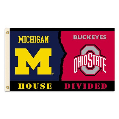NCAA Officially licensed products Michigan - Ohio St. 3 Ft. X 5 Ft. Flag W/Grommets - Rivalry House Divided Show everyone th