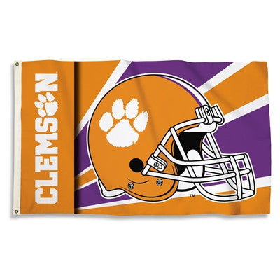 NCAA Officially licensed products Clemson Tigers 3 Ft. X 5 Ft. Flag W/Grommets - Helmet Design Show everyone that you are a