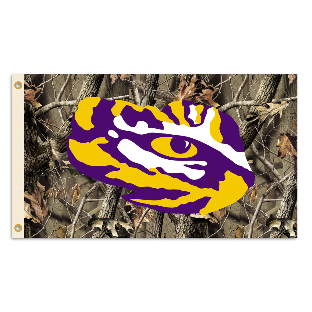 NCAA Officially licensed products LSU Tigers 3 Ft. X 5 Ft. Flag W/Grommets - Realtree Camo Background Show everyone that you