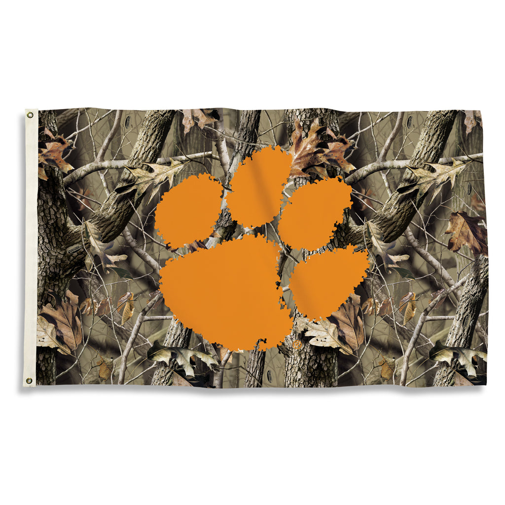 NCAA Officially licensed products Clemson Tigers 3 Ft. X 5 Ft. Flag W/Grommets - Realtree Camo Background Show everyone that