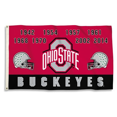 NCAA Officially licensed products Ohio State Buckeyes 3 Ft. X 5 Ft. Flag W/Grommets - Champ Years Show everyone that you are