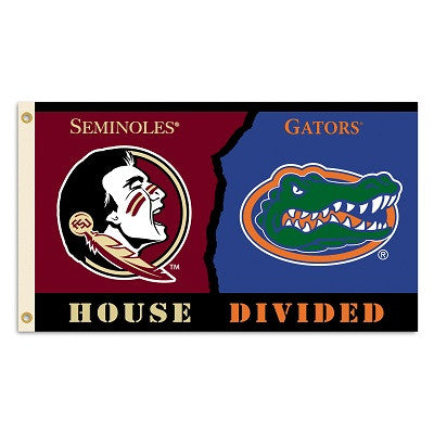 NCAA Officially licensed products Florida - Florida St. 3 Ft. X 5 Ft. Flag W/Grommets - Rivalry House Divided Show everyone