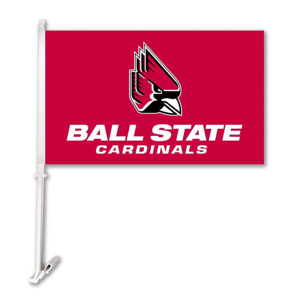 NCAA Officially licensed products Ball State Cardinals Car Flag W/Wall Brackett  Show your team spirit proudly with this  ca