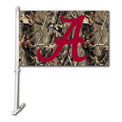 NCAA Officially licensed products Alabama Crimson Tide Car Flag W/Wall Brackett - Realtree Camo Background Show your team sp