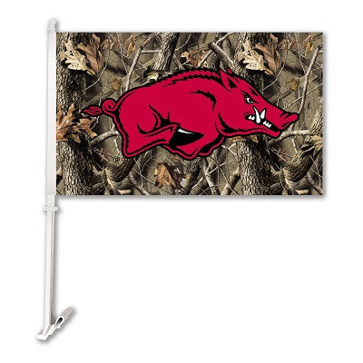 NCAA Officially licensed products Arkansas Razorbacks Car Flag W/Wall Brackett - Realtree Camo Background Show your team spi
