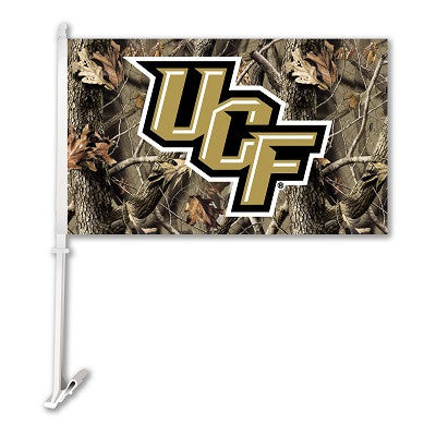 NCAA Officially licensed products Central Florida Golden Knights* Car Flag W/Wall Brackett - Realtree Camo Background Show y