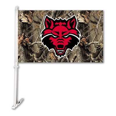 NCAA Officially licensed products Arkansas State Red Wolves Car Flag W/Wall Brackett - Realtree Camo Background Show your te