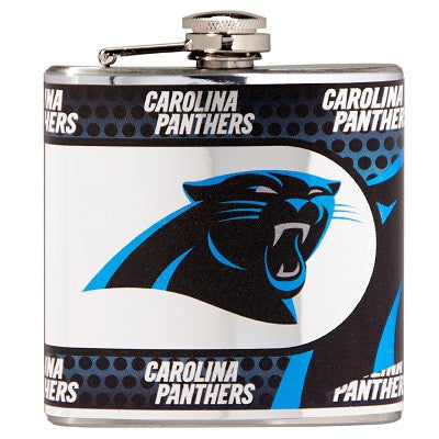 NFL Officially licensed products Carolina Panthers Stainless Steel 6 oz. Flask with Metallic Graphics This officially licens