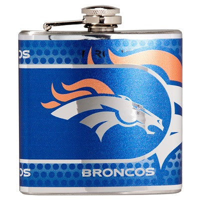 NFL Officially licensed products Denver Broncos Stainless Steel 6 oz. Flask with Metallic Graphics This officially licensed