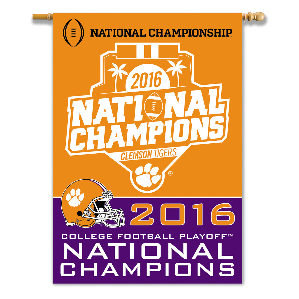 NCAA Officially licensed products Clemson Tigers CFP Champ 2-sided 28 x 40 Banner Support your favorite team by hanging up t