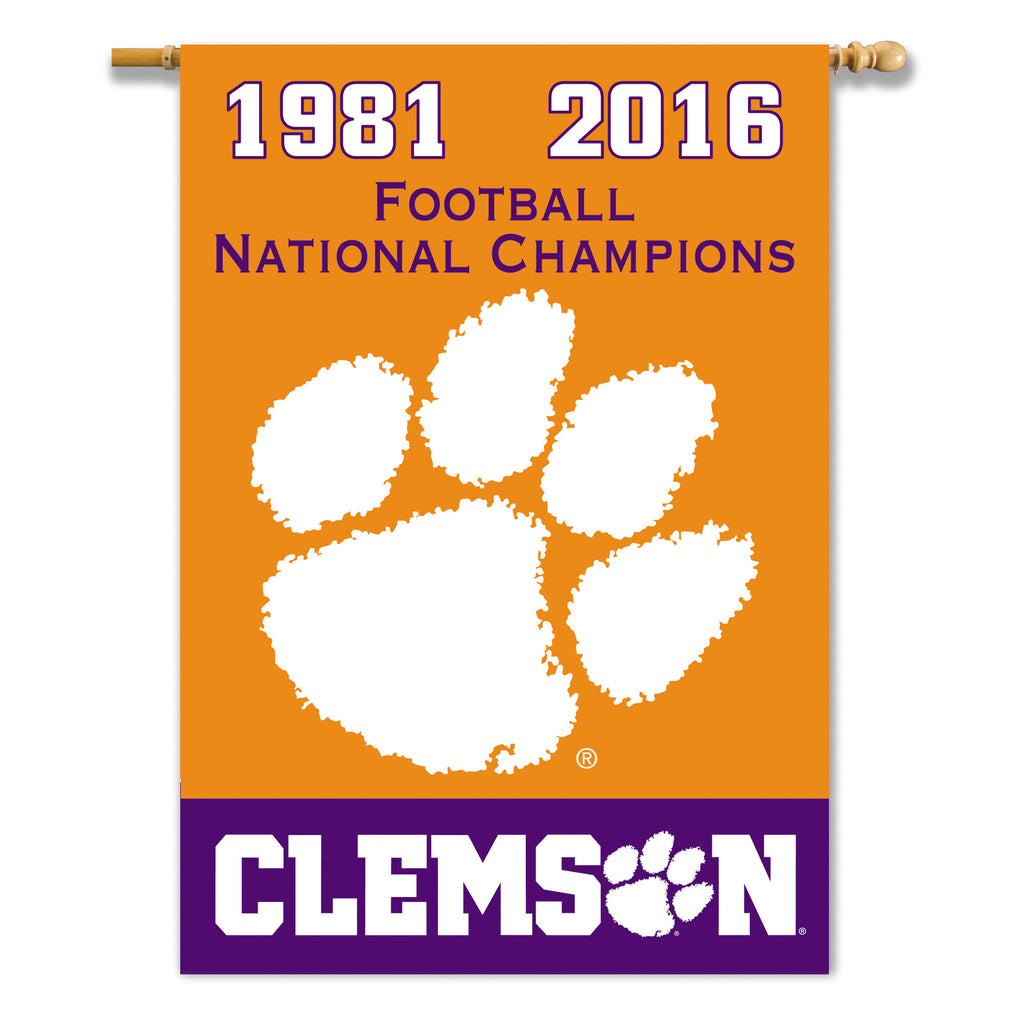 NCAA Officially licensed products Clemson Tigers CFP Champ Champ Years 2-sided 28 x 40 Banner Support your favorite team by
