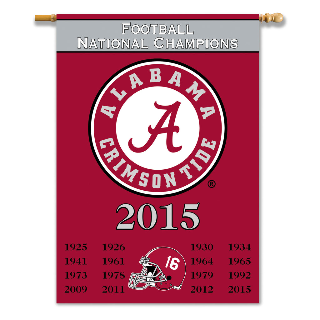 "NCAA Officially licensed products Alabama Crimson Tide 2-Sided 28"" X 40"" Banner W/ Pole Sleeve Champ Years Support your favo"