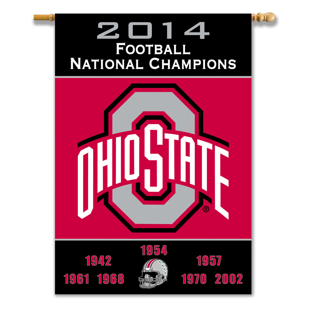 "NCAA Officially licensed products Ohio State Buckeyes 2-Sided 28"" X 40"" Banner W/ Pole Sleeve Champ Years Support your favor"