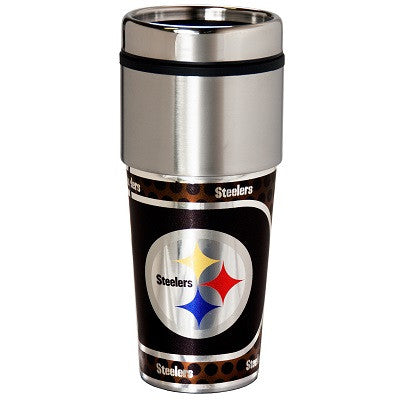 NFL Officially licensed products Pittsburgh Steelers 16  oz. Stainless Steel Travel Tumbler Metallic Graphics Enjoy your fav