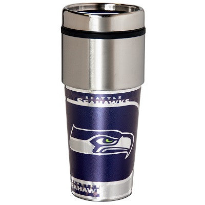 NFL Officially licensed products Seattle Seahawks 16  oz. Stainless Steel Travel Tumbler Metallic Graphics Enjoy your favori