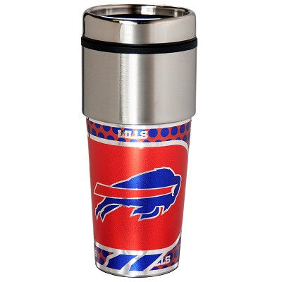 NFL Officially licensed products Buffalo Bills 16  oz. Stainless Steel Travel Tumbler Metallic Graphics Enjoy your favorite