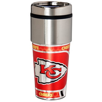 NFL Officially licensed products Kansas City Chiefs 16  oz. Stainless Steel Travel Tumbler Metallic Graphics Enjoy your favo